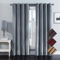 Velvet Grommet Top Curtain Panel (Pair)
