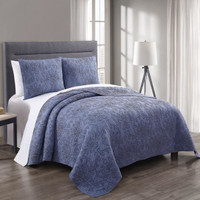 Simmon Cotton Quilted Coverlet Image Denim/Navy