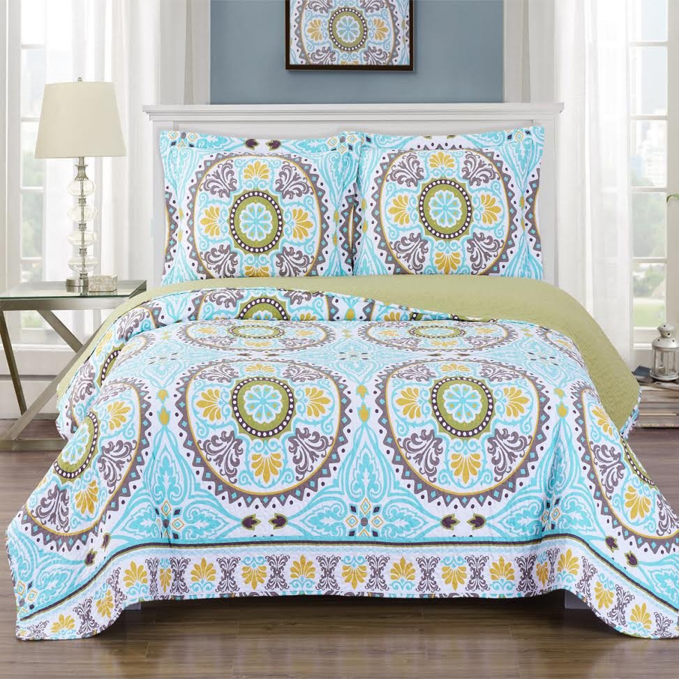 Nyah Quilted Coverlet Floral Pattern Bed Quilt Set On Sale