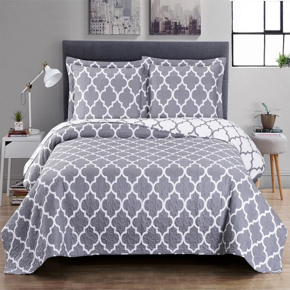 Meridian Over-sized Coverlet/ Gray