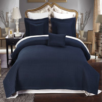 Luxury Navy Checkered Quilted Coverlets 6-Piece Set Image
