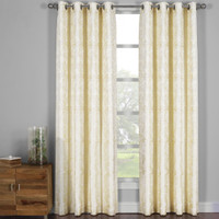 Catalina Garden Theme Jacquard Grommet Top Curtain Panels- Light Yellow