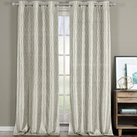 VoyageThermal Blackout Curtains Grommet Top Panels Jacquard Textured- Beige
