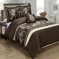 Myra 100% Cotton Chocolate 5-Piece Duvet Cover Set