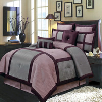 8-Piece Morgan Purple Full Size Comforter Set