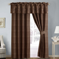 Janet 5 Piece Lined Jacquard Curtain Panel Set