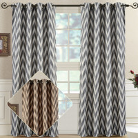 Lisette Chevron Top Grommet Window Curtain