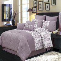 12 Piece Bliss Purple Bed in a Bag Bedding Set -Purple