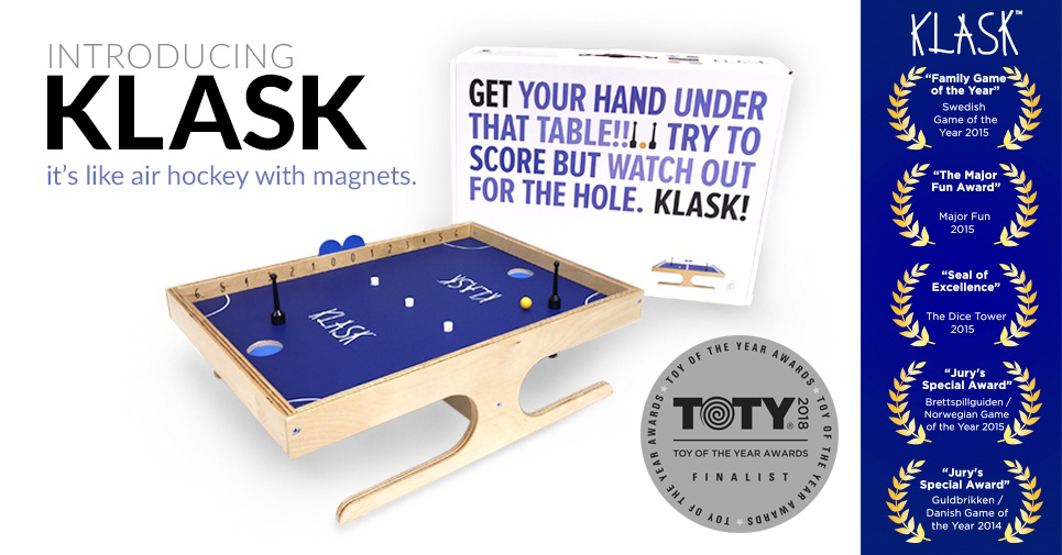 Klask Game Box and Awards