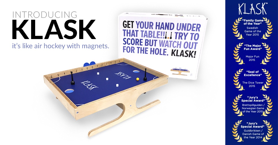 Klask Game Box and Awards