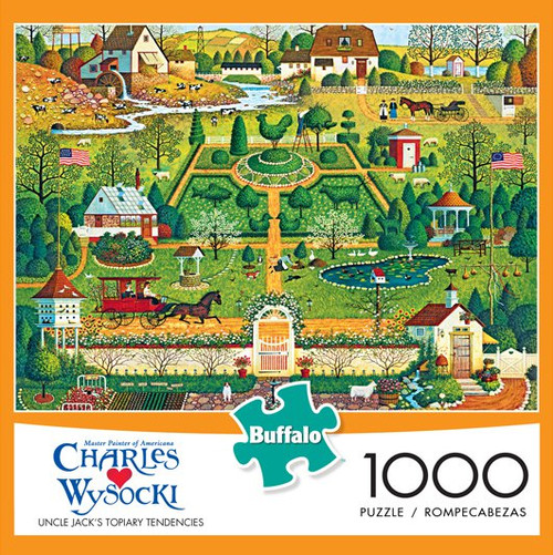 Charles Wysocki Uncle Jack's Topiary Tendencies 1000 Piece Jigsaw Puzzle Box