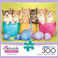 Adorable Animals Kittens in Cups 300 Large Piece Jigsaw Puzzle