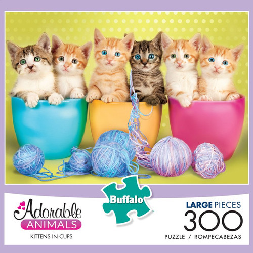 Adorable Animals Kittens in Cups 300 Large Piece Jigsaw Puzzle Box