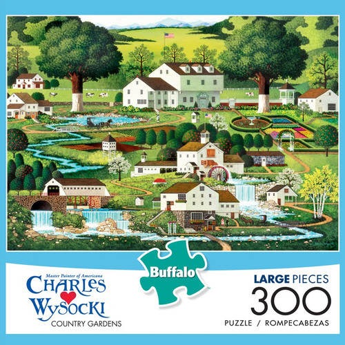 Charles Wysocki Country Gardens 300 Large Piece Jigsaw Puzzle Box