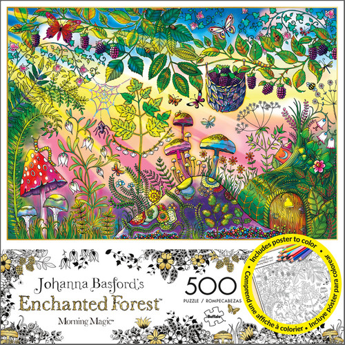 Johanna Basford's Enchanted Forest Morning Magic 500 Piece Jigsaw Puzzle Box