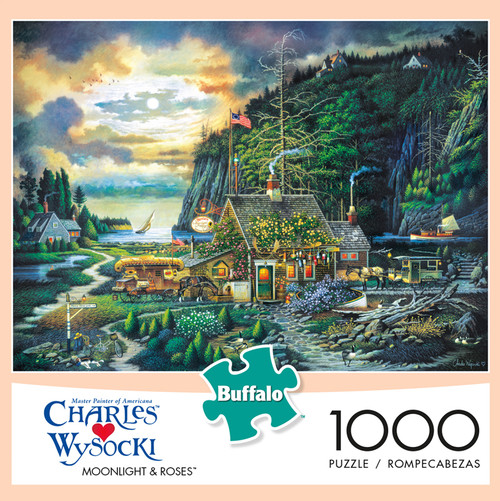 Charles Wysocki Moonlight & Roses 1000 Piece Jigsaw Puzzle Box