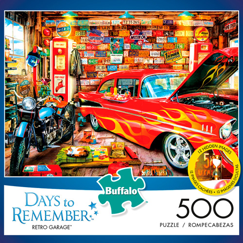 Days to Remember Retro Garage 500 Piece Jigsaw Puzzle Box