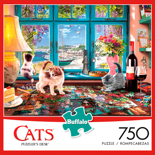 Cats Puzzler's Desk 750 Piece Jigsaw Puzzle Box