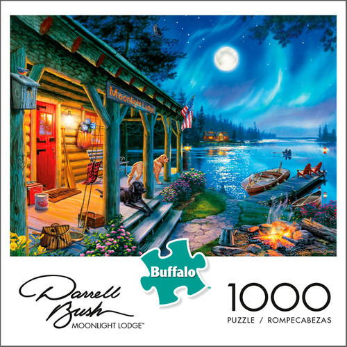 Darrell Bush Moonlight Lodge 1000 Piece Jigsaw Puzzle Box