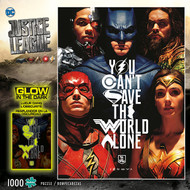 Justice League You Can't Save the World Alone Glow-in-the-Dark 1000 Piece Jigsaw Puzzle Box