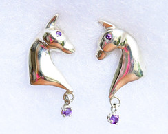 3 gaited horse  earrings in sterling silver with posts and dangles