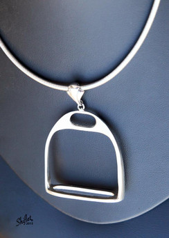 Large english silver stirrup pendent