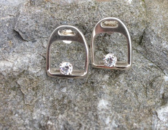 Sterling silver english stirrup earrings