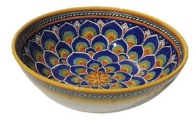 Geometrico Peacock Blue Salad Bowl