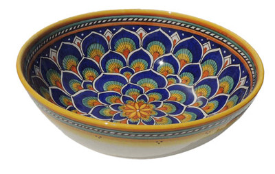 Geometrico Peacock Blue Salad Bowl
