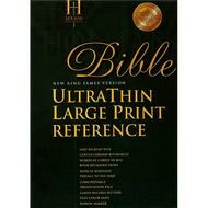 NKJV UltraThin Large Print Reference Bible (Black Bonded Leather - Thumb Indexed)