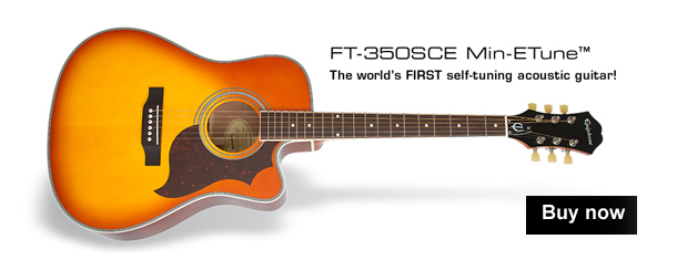Epiphone FT-350SCE Min-ETune Electro Acoustic Guitar - Violin Burst - World's first self tuning acoustic guitar