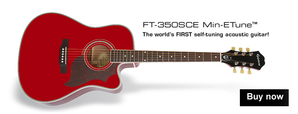 Epiphone FT-350SCE Min-ETune Electro Acoustic Guitar - Wine Red version of worlds first self tuning acoustic guitar