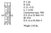 "2MBL47, 4.7"" Bushing type, A (4L), B (5L and 5V) belts"