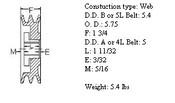 "2MBL57, 5.7"" Bushing type, A (4L), B (5L and 5V) belts"