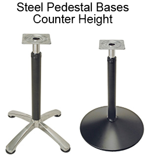 Steel Pedestal Bases - Counter Height