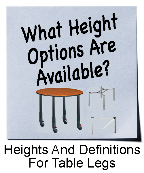 Height Options and Definitions for Table Legs