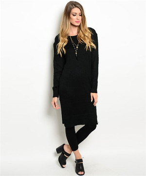 Fitted Tunic Sweater Black