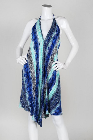 BLUE/GREEN SNAKE PRINT HANDKERCHIEF DRESS