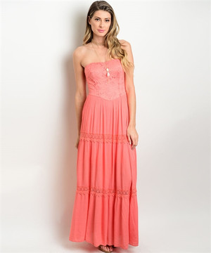 Sleeveless Lace Detail Maxi Dress