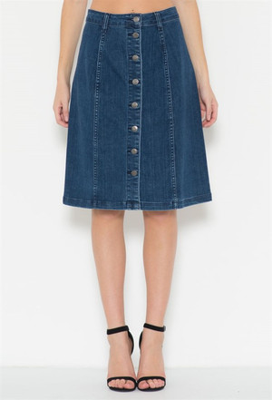 DENIM KNEE LENGHT A-LINE SKIRT