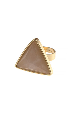 FACETED TRIANGULAR SEMI PRECIOUS STONE RING