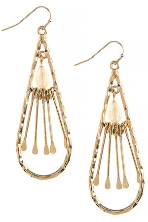 BAR FRINGE BEADED TEARDROP EARRINGS