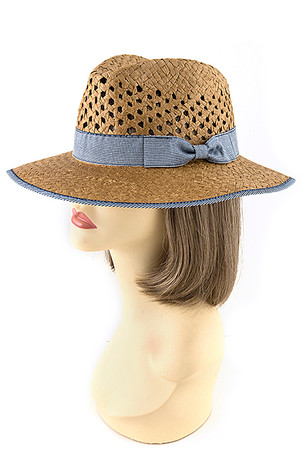 OPEN WEAVE DENIM ACCENT HAT