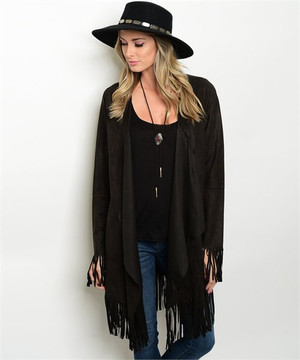Black Fringe Suede Jacket