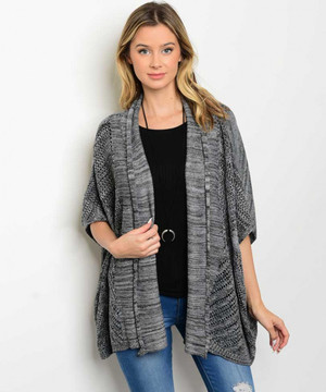 BLACK GRAY CARDIGAN