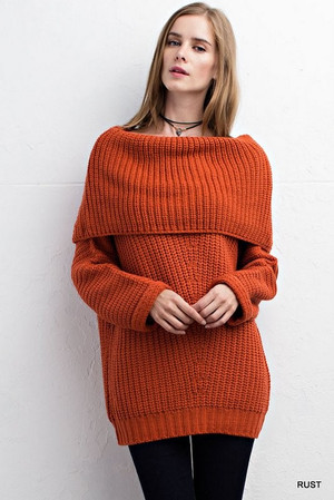 OFF THE SHOULDER RUST SWEATER
