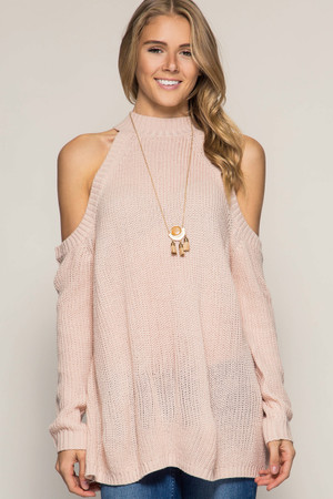 Rose Pink Cold Shoulder Sweater