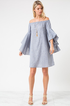 HI-LOW BELL SLEEVE OFF SHOULDER DRESS