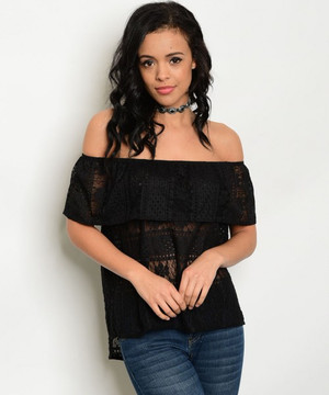 BLACK LACE OFF SHOULDER TOP
