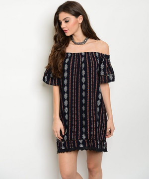 OFF THE SHOULDER NAVY PRINT DRESS